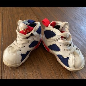 Nike Jordan 7 Red Blue White Basketball Shoes SZ 5